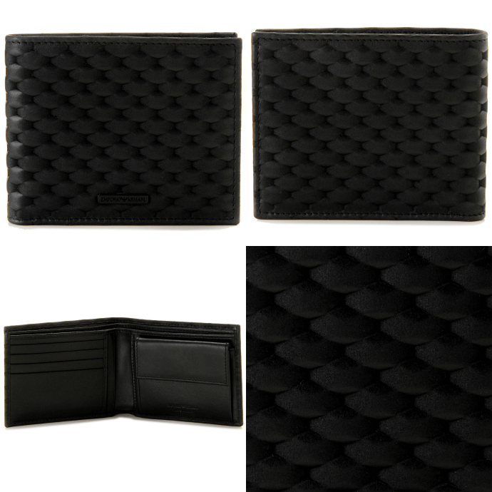 EMPORIO ARMANI/エンポリオアルマーニ  レザー メンズ 二つ折り財布 YEM122 YA27V 80001